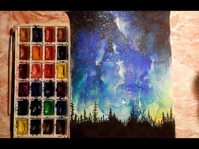 Как научиться рисовать: УРОК 6. Ночь, звездное небо (акварель)