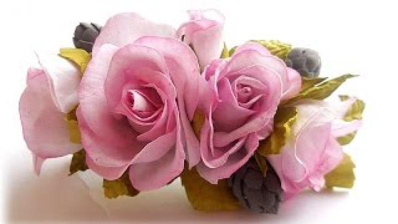 МК Заколка з квітами із шовкового фоамірану. Заколка-автомат с цветами из шелкового фоамирана.