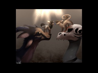speedpaint:Rin and Hakura on dragons