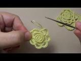 Вязание крючком для начинающих. Цветы. Роза. Элементы ирландского кружева