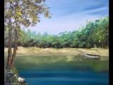Масло.Берег озера, деревья,отражения. Lake in Oil. How to pant Trees, water, reflections, rocks.