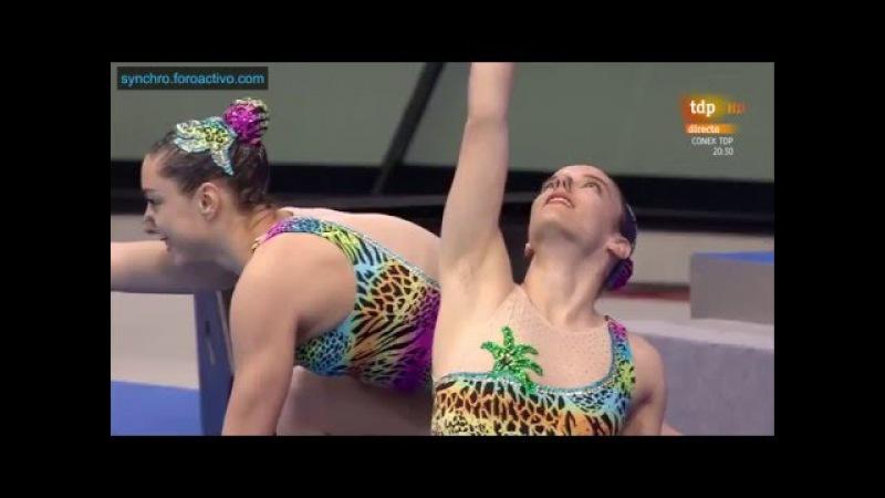 Rebecca DomikaMia Sestan (CRO) Duet Free Preliminary London European Aquatics Championships 2016