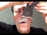 Shaving Movember moustache with my axe