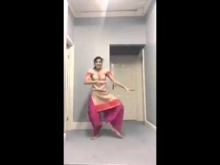 Punjabi Bhangra Dance Of Indian Girl At Home