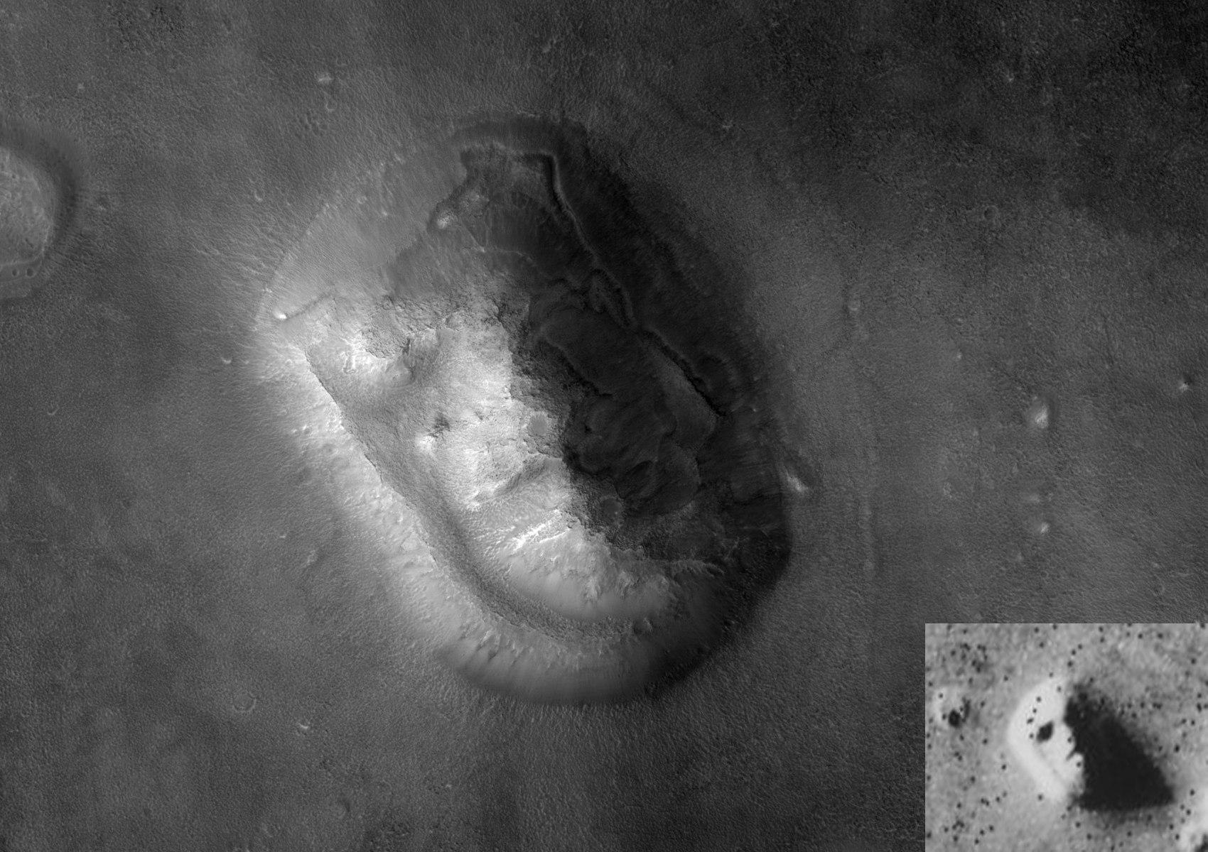 Фотография «лица», сделанная в 2001 году компанией «Mars Global Surveyor»