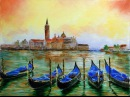 Palette knife speed painting in oil Venice, Water View, 2015 with Lana Kanyo.