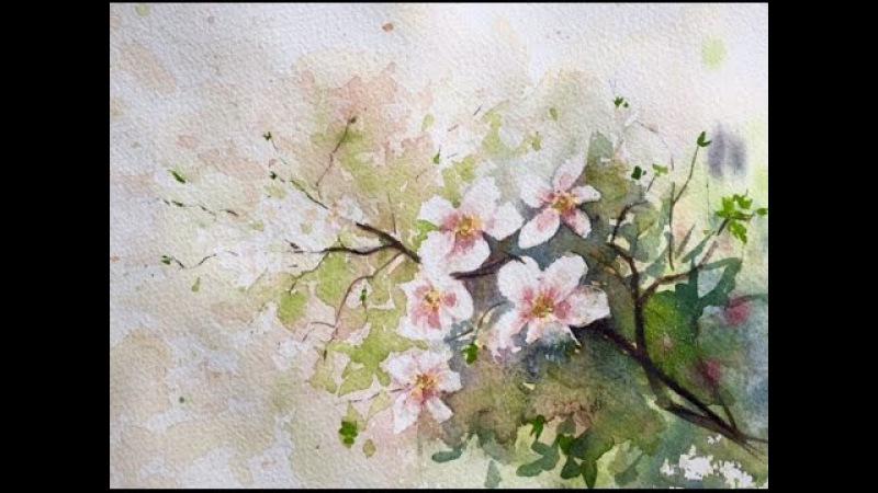 С 8 Марта! Акварель. Рисуем ветку вишни.Негатиа.Cherry Tree Branch.