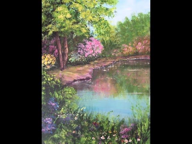 Акрил. Пруд в цветах. Трава, полевые цветы, вода. Pond with flowers around in acrylic