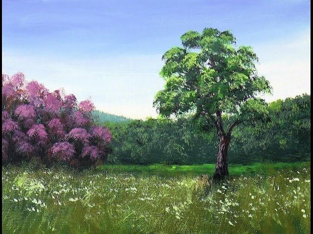 Рисуем Лесистые Горы Кусты с цветами Траву Акрилом Mountains Bushes Grass Acrylic