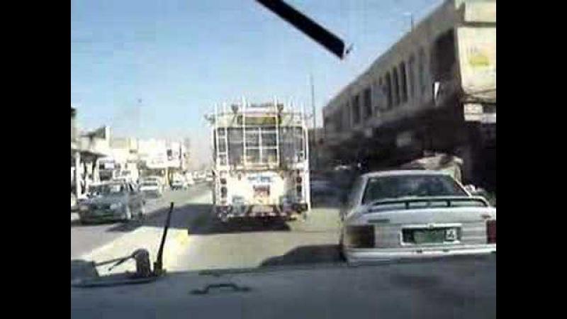 Humvee Traffic Driving in Baghdad