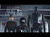 Rogue One K-2SO, Cassian &amp Jyn Ready, Set, Let's Go