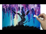 Wisteria Willow Tree Q Tip Painting Technique for BEGINNERS EASY Acrylic Painting
