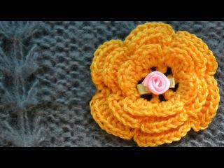 Как связать объемный цветок крючком. 3D crochet flower