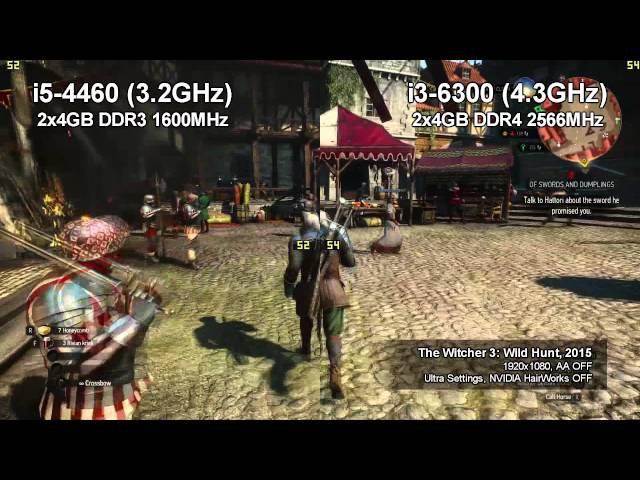 I5 4460 vs i3 6300@4.3GHz (11 games)
