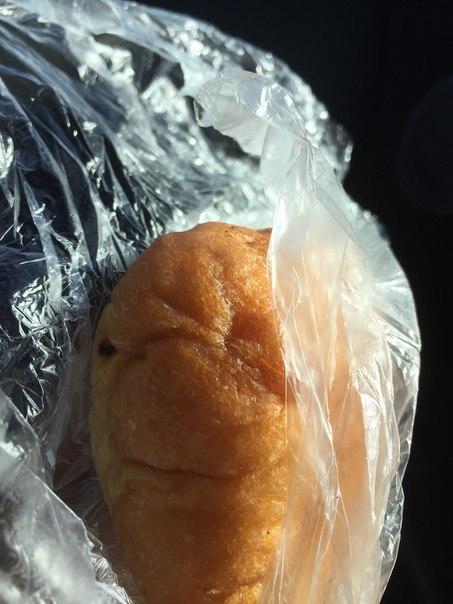 Едем с IMIS из Питера, купили пирожок на дороге, а он на нас глядит из пакетика)...