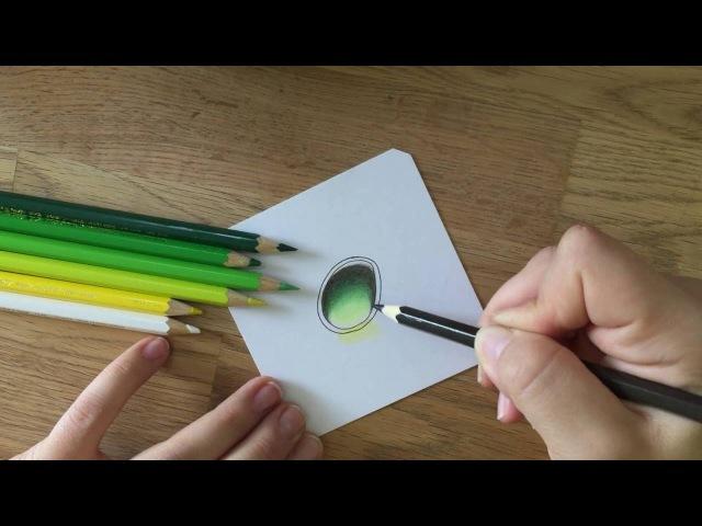 Графика цветными карандашами. Gems-камни. Зелёный драгоценный камень
