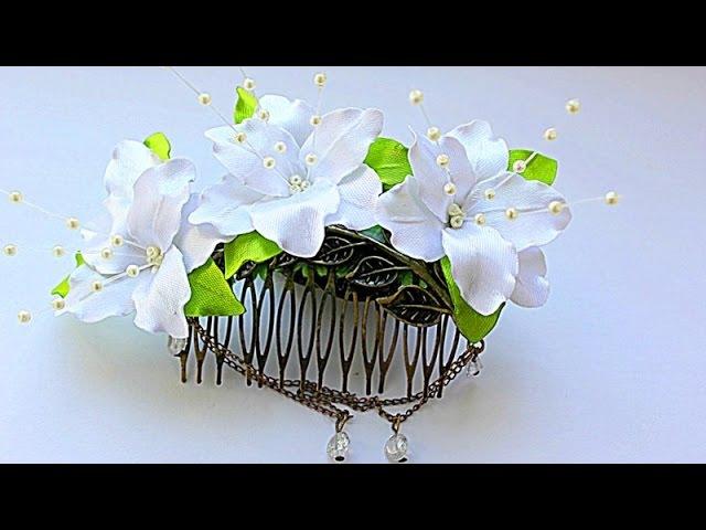 💮 Свадебный Гребень с Цветами из Лент | KANZASHI | DIY