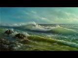 Pintura paisaje marino. Pintar mar facil. Pintar olas al oleo. Pintar el mar con acrilico Ondas