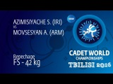 Repechage FS - 42 kg: S. AZIMISIYACHE (IRI) df. A. MOVSESYAN (ARM), 12-10