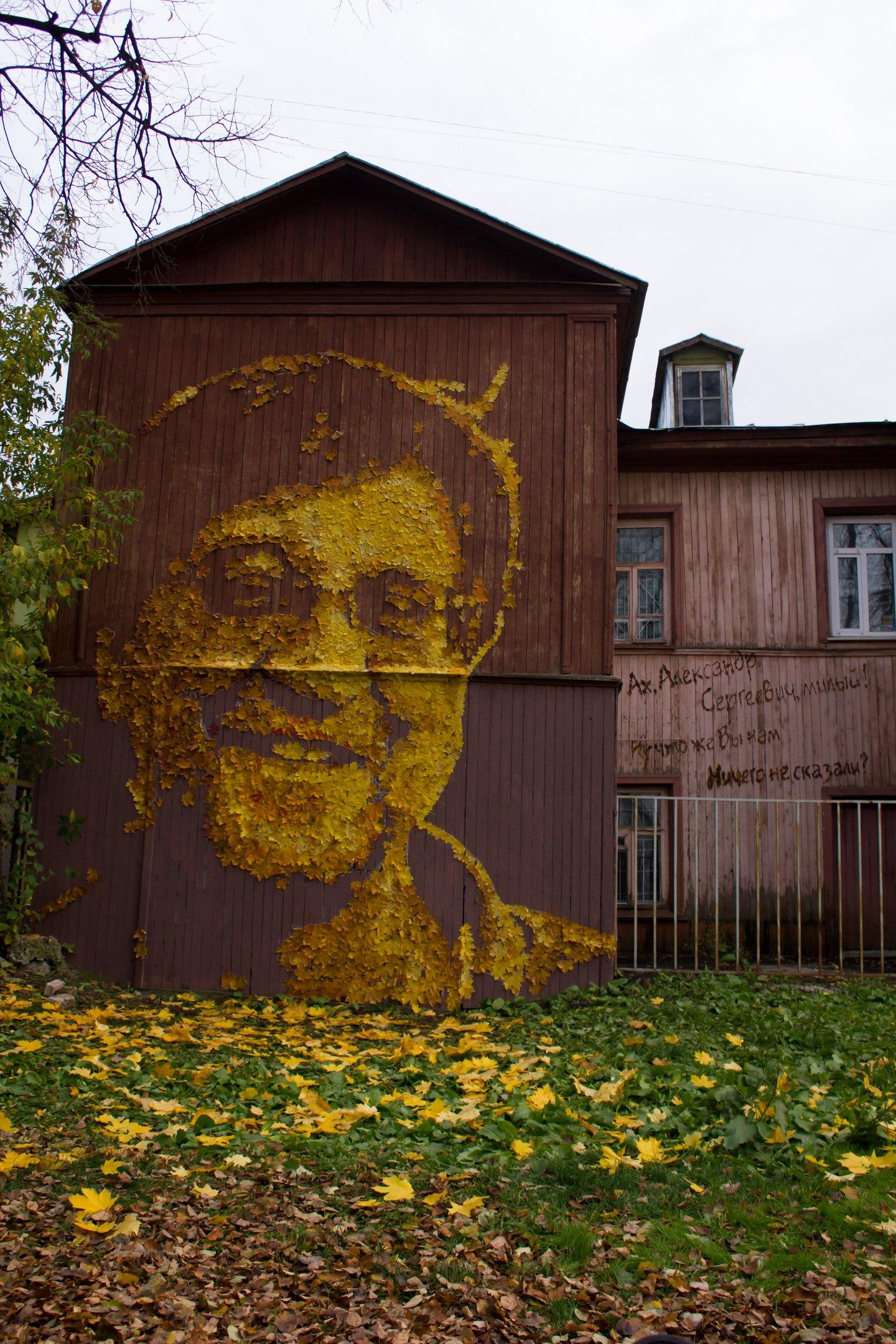 Пермский художник Александр Жунев сделал портрет Юрия Шевчука из листьев