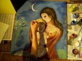 Процесс создания декораций к спектаклю  (копий картин М.ШАГАЛА) 2012 год....