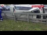 BMW перевернулся в результате столкновения трёх автомобилей в центре Москвы.