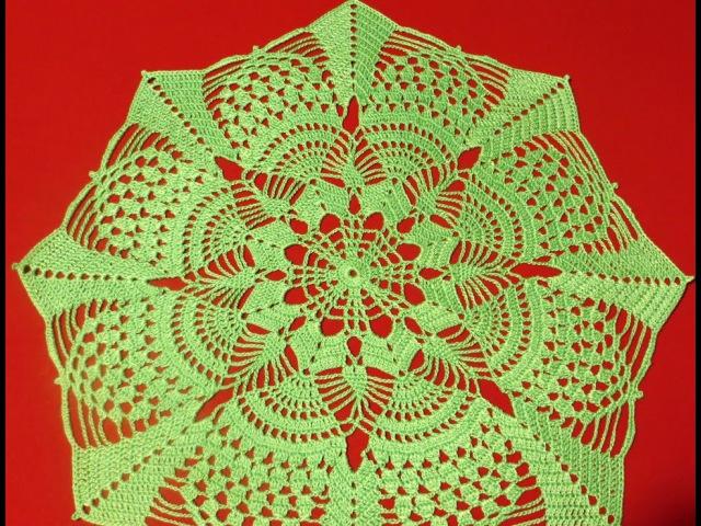 Ажурная салфетка крючком Летняя_Doily crochet Summer_Часть_2