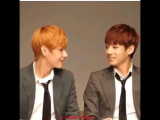 I like it when Taekook just looked at each other then smiled for no reason