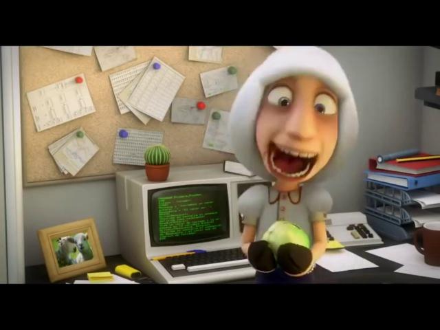 Смешной короткометражный мультик; Волк Компьютерщик.