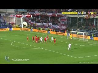 Montenegro 0-1 Poland - Lewandowski 40' (Free-kick)