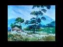 Еще один милый и простой акварельный пейзаж рисуем дом, холмы, небо и деревья