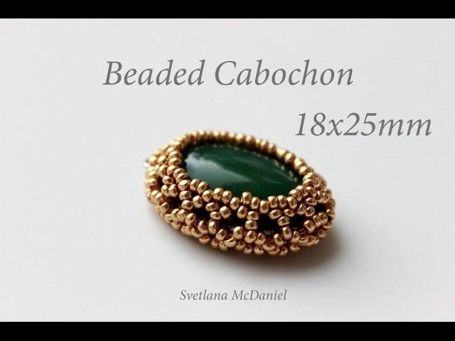 Cabochon 18x25mm Beaded Cabochon Beadweaving Technique
