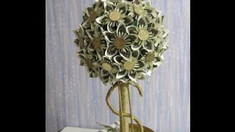 Подарок на 8 марта или День рождения. Денежное дерево. Цветочный топиарий из $ и монет.