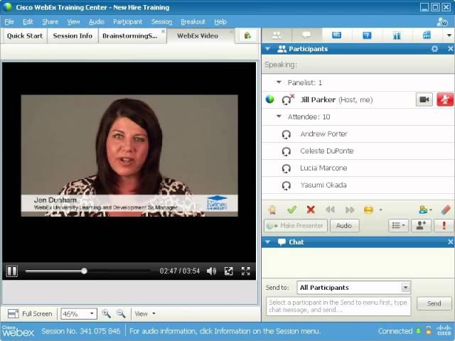 WebEx Training Center Доля файла или видео