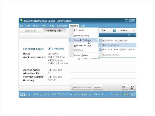 WebEx Учебный центр Запись к серверу
