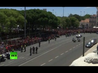Team Portugal back home after winning Euro 2016 (streamed live)