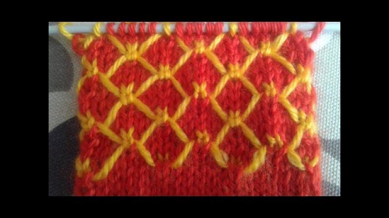 Двухцветный узор спицами. Мастер-класс. Two-color Knitting Pattern