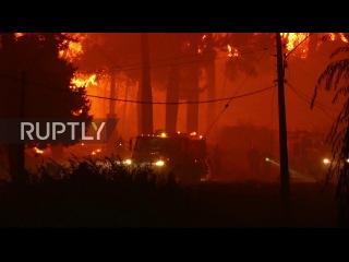 Чили: Пожарники умер сражаясь самый большой пожар за последние десятилетия.