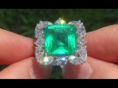 Estate Natural Colombian Emerald Diamond Ring 18k White Gold - A131576