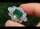 Estate Natural Colombian Emerald Diamond 18k White Gold Vintage Ring - A141504