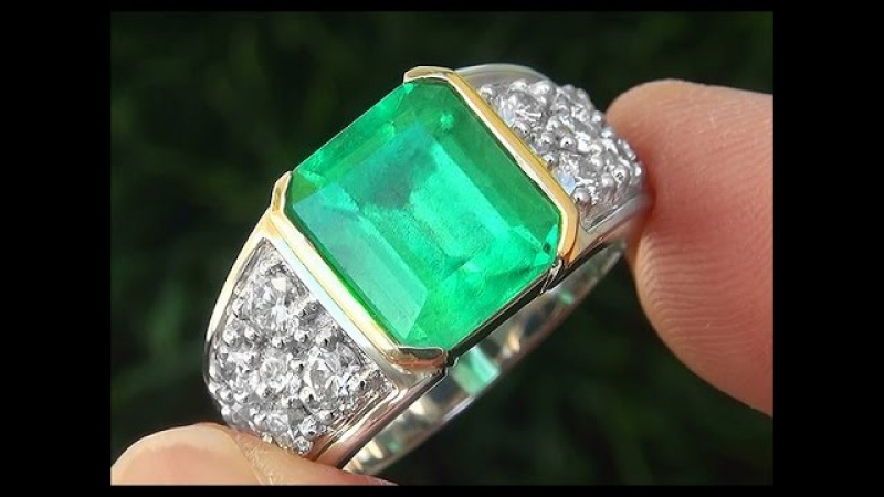 GIA Certified Authentic Mens Chopard Emerald Diamond Solid PLATINUM 18k Gold Gents Ring