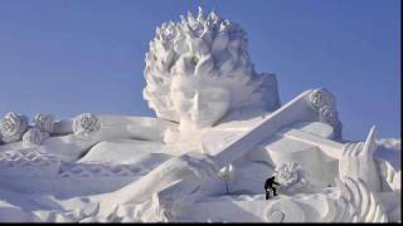 Самый большой парк льда, снега открылся в Китае.The largest park of ice and snow has opened in China