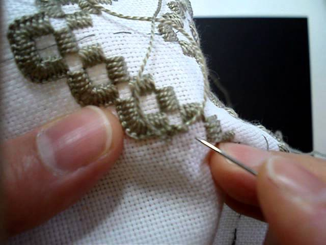 Hardanger Embroidery, Lesson 7, Starting and Ending Thread for Blanket Stitch