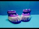 Вязание спицами пинетки-сандалики 114