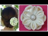 DIY kanzashi satin flower, wedding hair accessoire,kanzashi flower tutorial