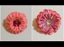 2 способа как сделать цветок зефирку из лент