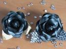 Нарядная брошь - черная роза в стиле канзаши к праздничному платью