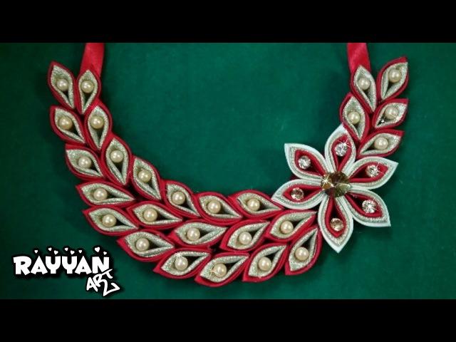 DIY Kanzashi Necklace 03 / Ожерелье канзаси 03