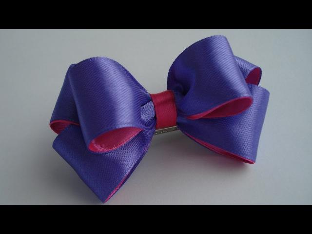 Украшение на заколку Канзаши / Фиолетово-розовый бантик