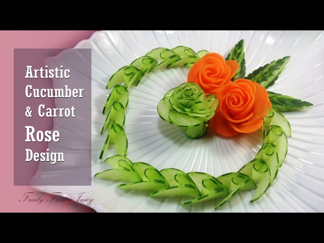 Artistic Cucumber, Carrot Rose Carving Design – From Vegetable Into Flower Garnish